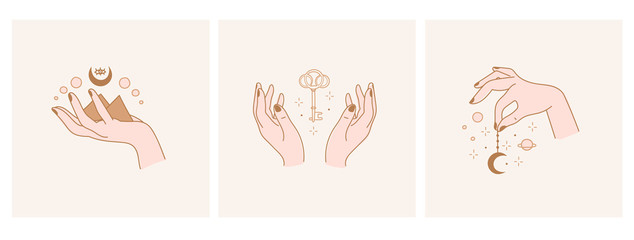 Elegant female hands. Moon, key, stars. Set of three Abstract free hand drawn Vector illustrations. Logo design templates in trendy minimalistic style. Witchcraft, Boho, Fashion, esoteric concept