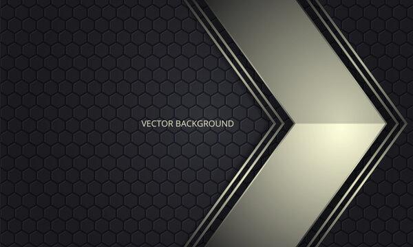 Golden metallic arrow on a dark hexagon grid abstract background. Luxury overlap direction design. Futuristic modern dark gray backdrop. Vector illustration EPS10.