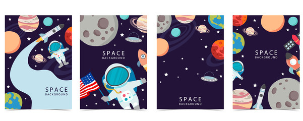 Collection of space background set with astronaut, planet, moon, star,rocket.Editable vector illustration for website, invitation,postcard and sticker