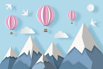 Poster Bleu clair Landscape with snowy mountains, hot air balloons, clouds and birds. Paper art digital craft style. Vector illustration