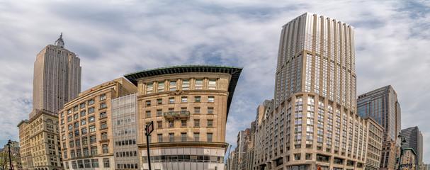 Fotobehang New York skyscrapers of new york city midtown unusual view