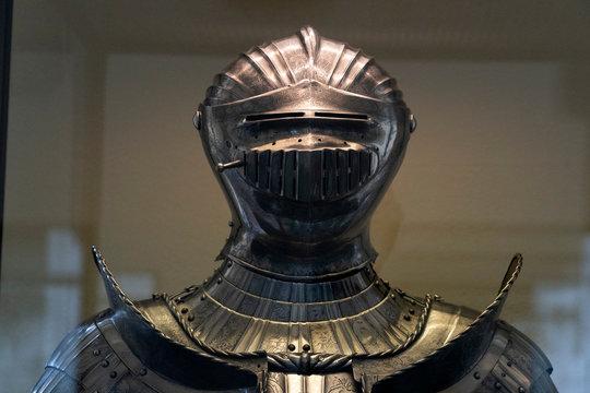 Medieval armor iron helmet detail