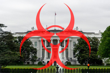 Fototapete - biohazard coronavirus covid19 on white house