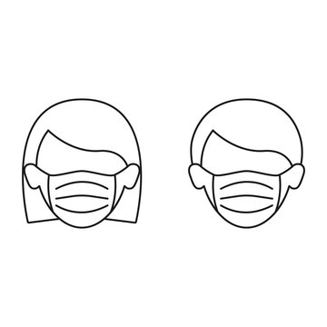 Woman and man in medical mask icon isolated. Concept global qurantine. Outline flat vector illustration.
