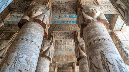 Spoed Fotobehang Bedehuis Dendera temple or Temple of Hathor. Egypt. Dendera, Denderah, is a small town in Egypt. Dendera Temple complex, one of the best-preserved temple sites from ancient Upper Egypt.