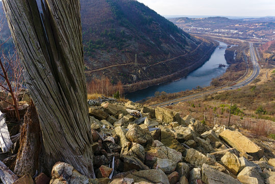 dead tree and rocks above river