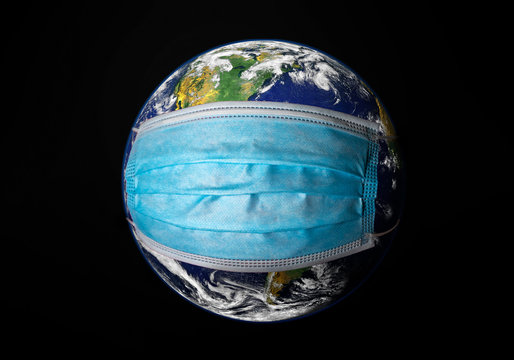 View of planet Earth with a medical mask on. Concep for world wide spread of Coronavirus desease