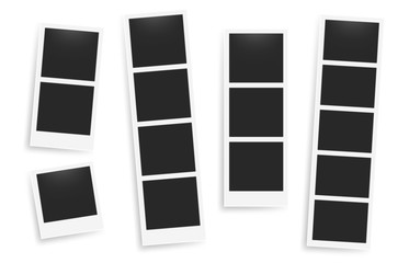 Photo booth images. Realistic blank photography template. Retro empty photo frame. Vector picture strips instant snapshot with black frame