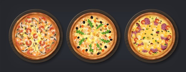 Realistic pizza. Tasty Italian tradition food with cheese tomato mushrooms and other toppings, isolated round backed home food. Vector 3D restaurant round meal on black background
