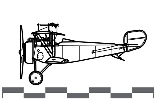 Nieuport 17. World War 1 combat aircraft. Side view. Image for illustration and infographics.