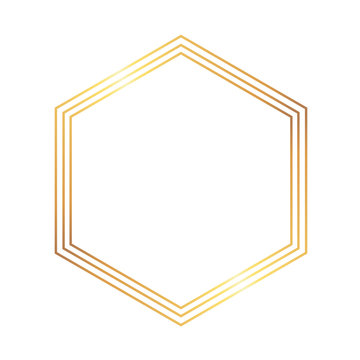 Golden thin triple style hexagon luxury frame on the white background. Perfect design for headline, logo and sale banner. Vector illustration