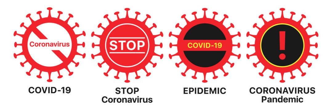 Coronavirus icon set. Global epidemic of COVID-19 infection, warning sign set. Coronavirus pandemic
