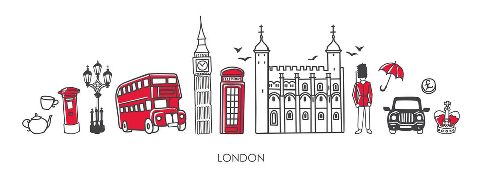 Vector modern illustration symbols of London, the UK. Famous British attractions in simple minimalistic style with black outline and red elements. Horizontal skyline banner or souvenir print design.