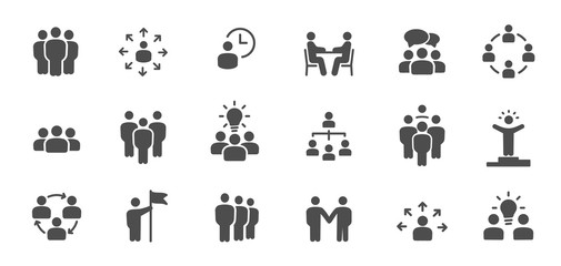 Team work icons. Meeting, group, team, people, conference, leader, discussion, collaboration, research and more. It is easy to edit - stock vector.