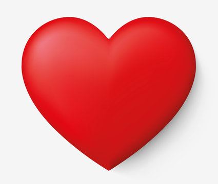 Realistic red heart with shadow - stock vector.