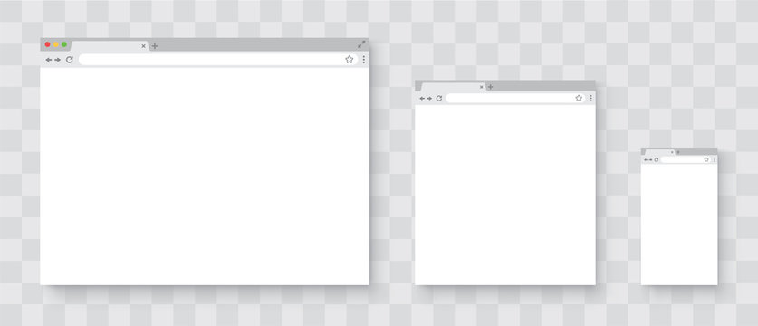 Browser window. Realistic blank browser window with shadow. Browser windows on your PC, tablet and smartphone. Empty web page mockup on transparent background - stock vector.