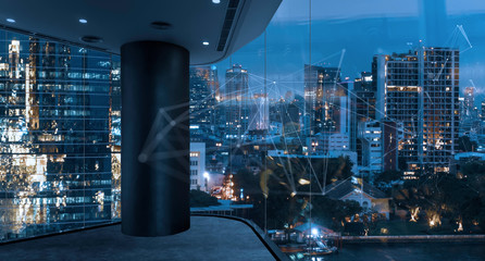 Fotomurales - Empty loft unfurnished modern interior office with city skyline and buildings city from glass window with 5g network technology.