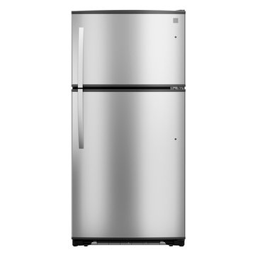 Top Mount Refrigerator Isolated on White Background. Modern Fridge Freezer. Electric Kitchen and Domestic Major Appliances. Front View of Stainless Steel Two Door Top-Freezer Fridge Freezer