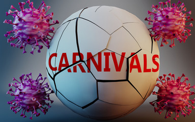 Coronavirus and carnivals, symbolized by viruses destroying word carnivals to picture that Covid-19 pandemic affects carnivals in a very negative way, 3d illustration