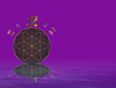 Spiritual background for meditation with life flower and yin yang symbol isolated in color background