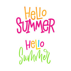 Hello Summer-set of two signs. Hand lettering sign for store. Vector typographic design element for banner, social media, card, print, poster.