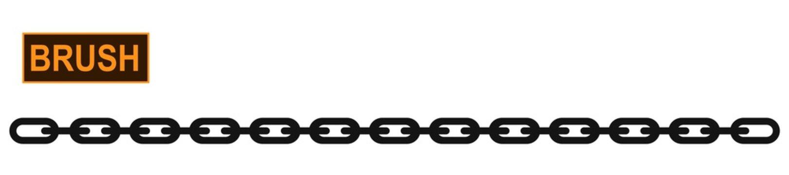 Metallic chain icon illustrator brush for fashion and digital illustration. Colorable customizable shackles.