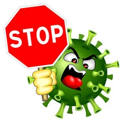 Spoed Fotobehang Draw Coronavirus Evil Virus with Stop Sign Vector Character isolated on white