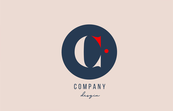 red dot C letter alphabet logo icon design with blue circle for company and business