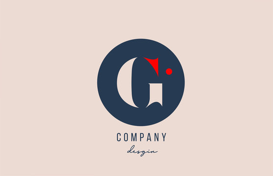 red dot G letter alphabet logo icon design with blue circle for company and business