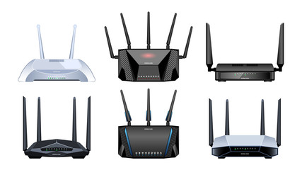 Router vector realistic set icon. Vector illustration internet modem on white background . Realistic set icon router.