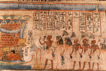 Details of egyptian art, hieroglyphs sculptures and paintings