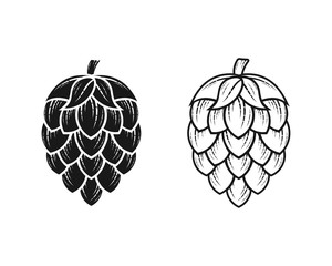 Hop icon isolated on white. Beer hop brewing emblem icon label logo, Vector illustration.