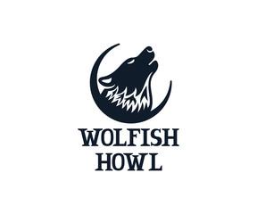 Wolf howls on sky, logo design. Animal, beast and wildlife, vector design and illustration