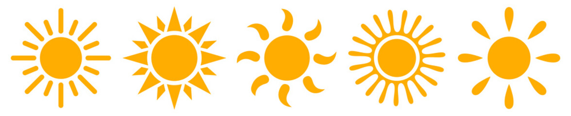 Set sun icons - stock vector