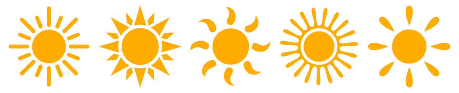 Set sun icons - stock vector