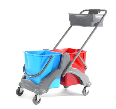 Janitor's trolley on white background