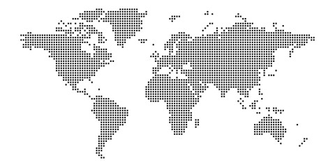 World map of squares. Simple flat vector illustration