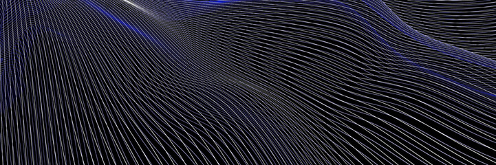 Fototapete - Abstract fluid surface background, with wireframe lines. Original 3d rendering