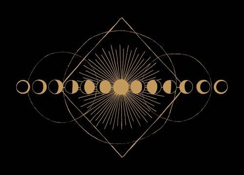 Moon phases geometric occult scheme vintage print.