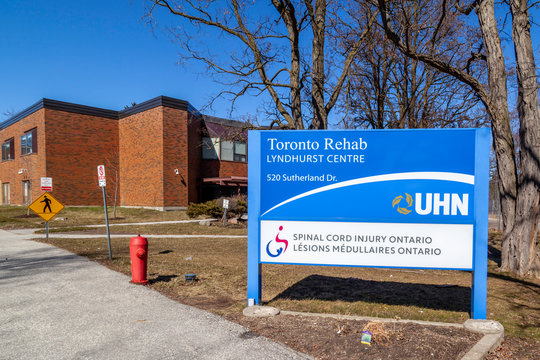 Toronto, Ontario, Canada- March 15, 2020: Sign and building of Toronto Rehabilitation Institute Lyndhurst Centre. One of North America's leading rehabilitation sciences centres.