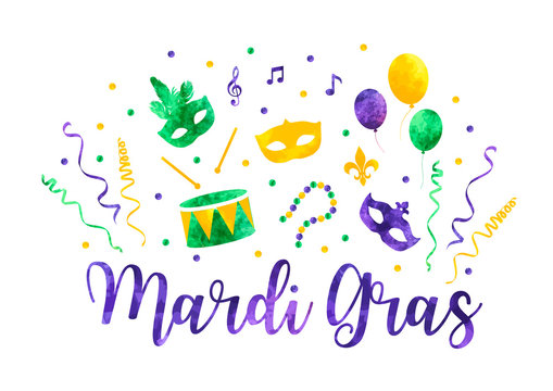 Mardi Gras traditional symbols collection, carnival masks, party decorations. Watercolor splash silhouettes elements for cards, banner. Vector illustration isolated on white background