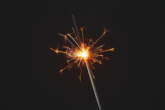 Beautiful Christmas sparkler on dark background