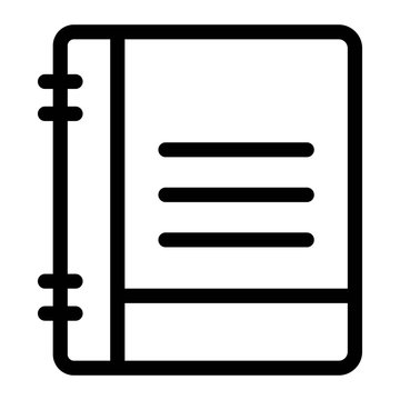 Notebook icon in line style.
