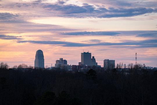 Winston-Salem, North Carolina Skyline at Sunset
