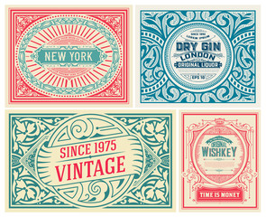 Set of 4 vintage cards. Vector layered