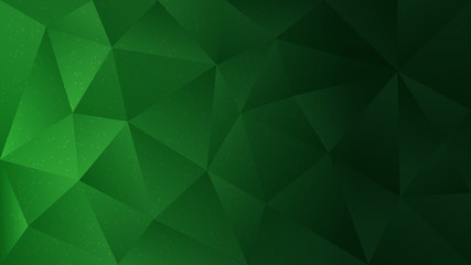 Polygon abstract shapes dots green dark gradient vector background