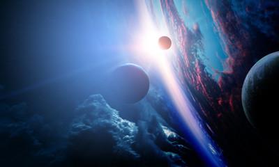 Deep space beauty. Planet orbit. Fotomurales