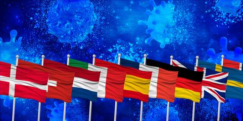 ヨーロッパ コロナ ウイルス 背景 Fotomurales