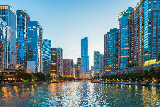 Beautiful view of skyline chicago river canal in Chicago Illinois USA