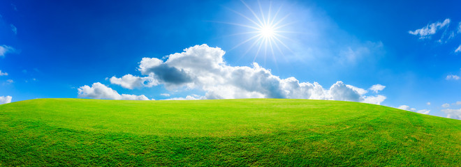 Tuinposter Gras Green grass field and blue sky with white clouds,panoramic view.